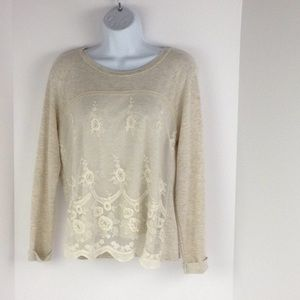 Long Sleeve Knit Top w/ Lace Front